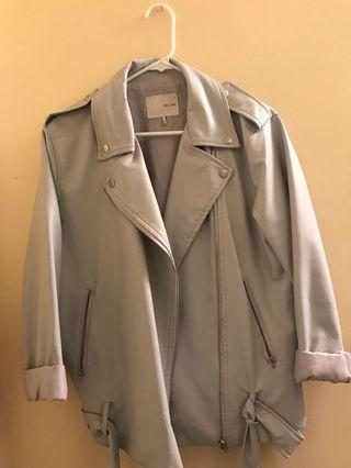 Oak + Fort Pale Blue/Grey Leather Jacket
