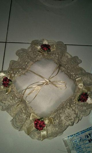 Satin Lovely Lace Wedding Ring Pillow