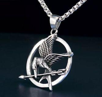 Unisex Titanium Steel Mockingjay Pendant And Necklace