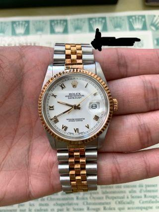 Cert/box Rolex Men 36mm 16233 Datejust Quickset Oyster Perpetual