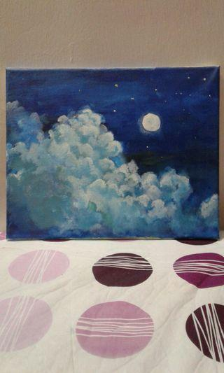 Cloudy Moon painting