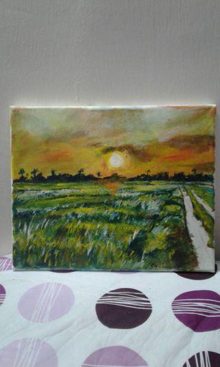 Expressive paddy field at dawn painting