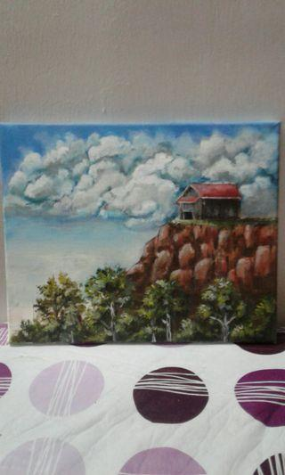 House at the edge of the hill painting