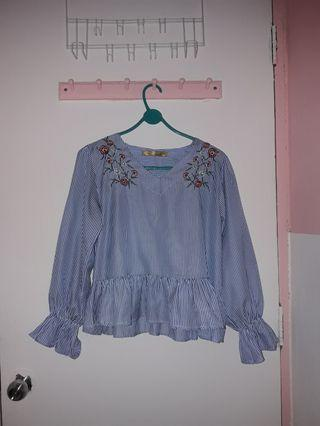 Blue Stripes blouse wih embroidery