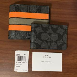 BNWT Coach Compact ID Wallet in Varsity Signature Leather (Charcoal/Orange) F75426