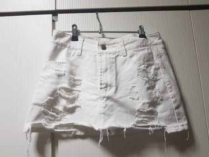 🚚 White denim short skirt