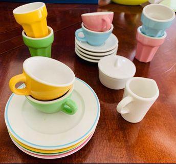 IKEA Miniature Tea Coffee Cup & Plate Set Ceramic