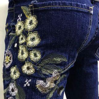 彈力牛仔褲 (繡花)