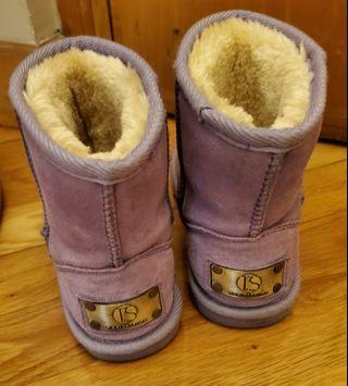 紫色女童毛毛靴