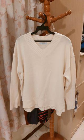 韓國米白色V領毛衣