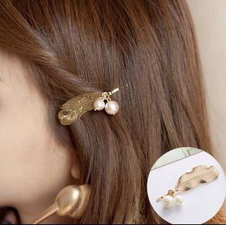 🚚 金屬樹葉珍珠髮夾