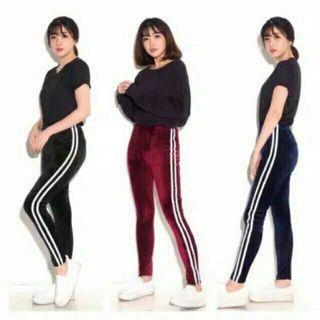 Stripe Pants Velvet