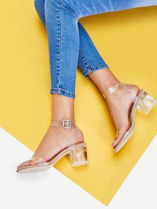 Clear Strappy Block Heel Sandals