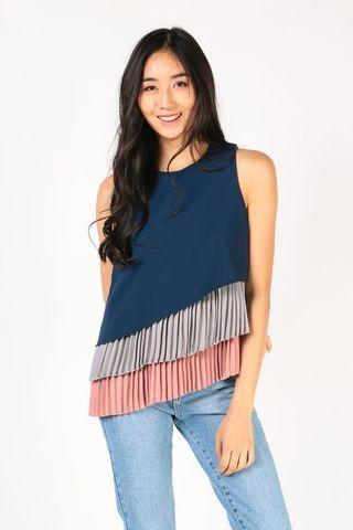 Pleated Tiered top (Navy, Grey, Pink)