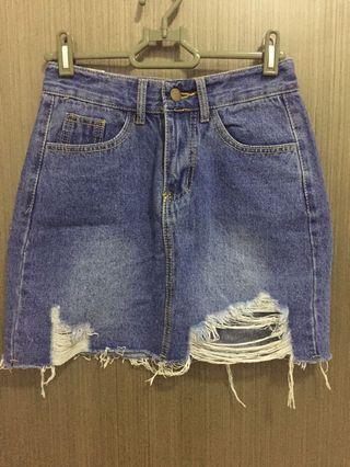 Ripped/Distressed Denim Skirt