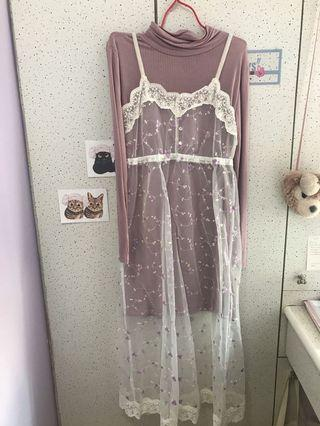 HEATHER 日牌日系香芋紫蕾絲碎花吊帶裙