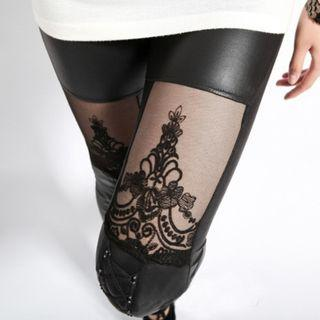 Mesh Panelled Faux Leather Leggings