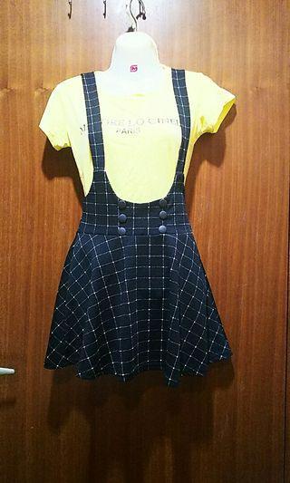 🚚 格紋可愛吊帶傘狀短裙