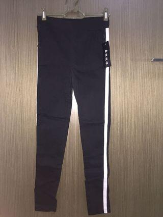 Black with White Stripes Jeggings