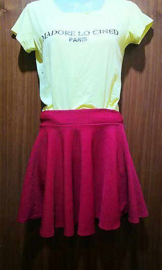 🚚 甜美氣質傘狀酒紅色短裙