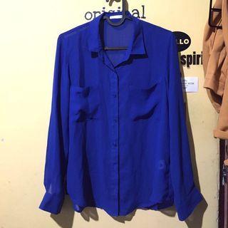 🚚 日本購入 美麗寶藍色微透雪紡襯衫 超級特別意外好搭配 OL可著