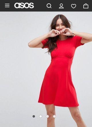 🚚 會變巨乳 ASOS 修身顯胸午茶小洋裝 不出錯基本款 少見整件紅 全新吊牌未拆 婚禮穿搭 婚禮洋裝 另類爆乳 限時特價到4/30