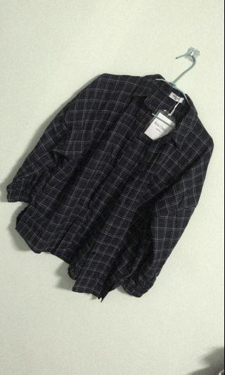🚚 男友風格子襯衫/外套+兩件套針織套裝