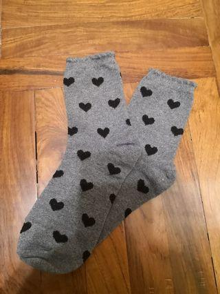 灰色心心襪