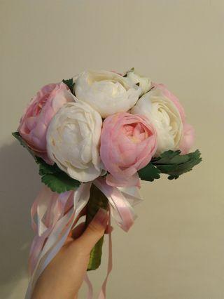 婚禮花球  粉紅+白