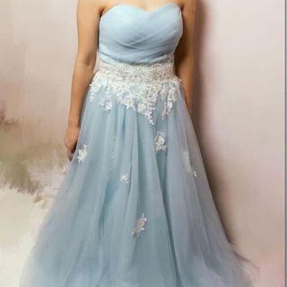 Evening dress low cut lace Tiffany Blue 粉藍色 湖水藍色 晚裝裙