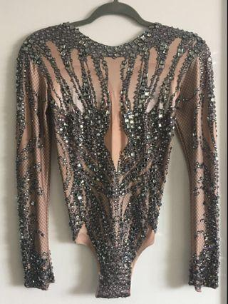Bodysuit with crystals - stretch fabric