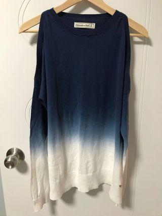 A&F Blue dyed top with shoulder cut out details