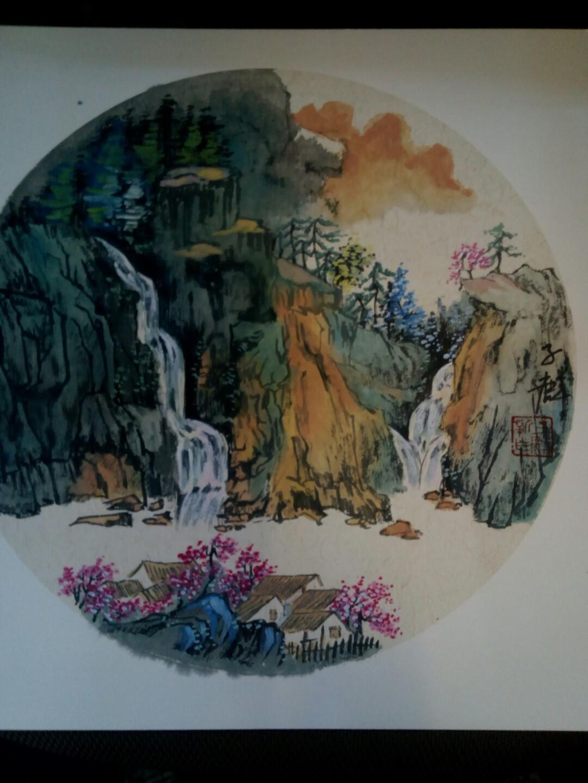 中国画<山水>。38X38cM