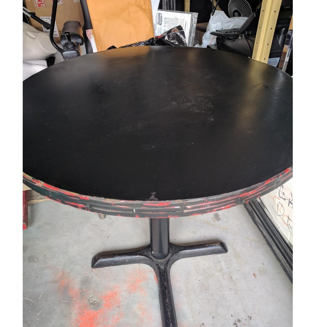 "48"" Circular Folding Table, used, with Metallic Legs, Space Saver"
