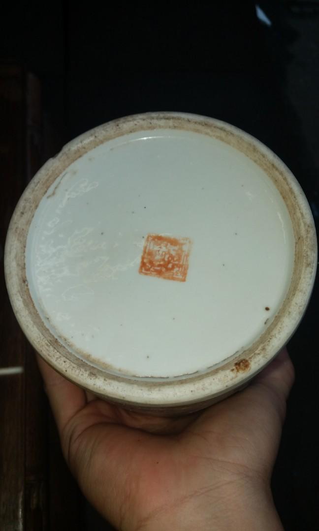 清末粉彩手繪帽桶$800,有裂紋,直徑29x12cm
