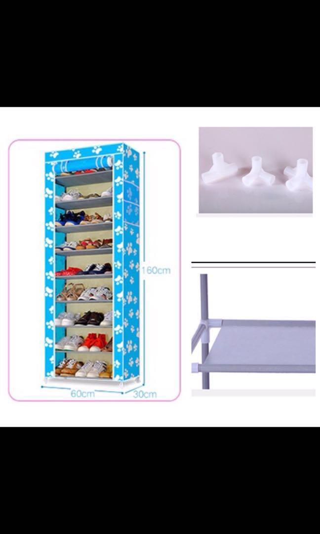 9 Tier moisture proof GREY Shoe rack/ cabinet