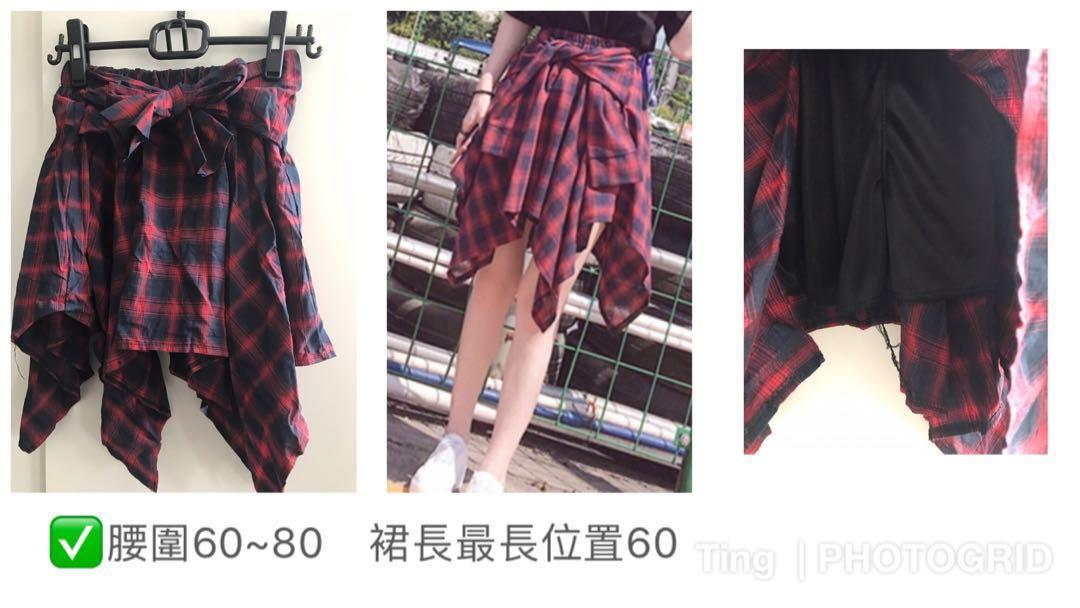 九成新-紅格紋綁帶褲裙