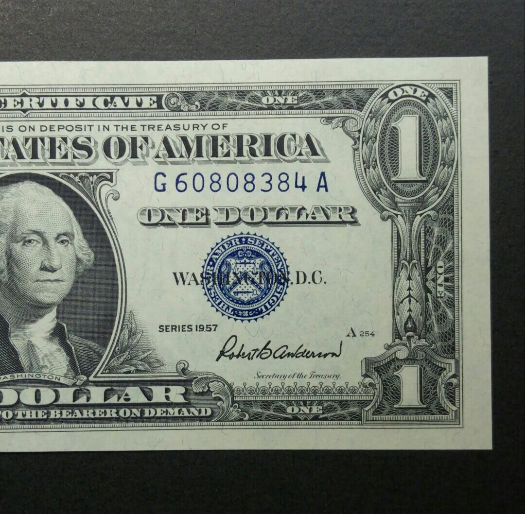 [全新藍印] 1957年 $1美金紙幣 (G60808384)