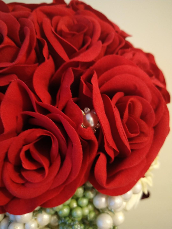 婚禮花球  紅色  可襯裙褂
