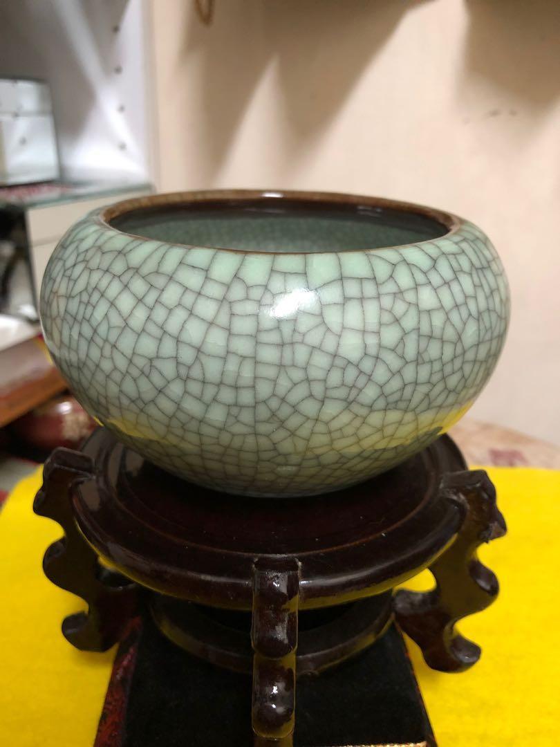 早期官窯 聚寶盆 窯燒裂釉