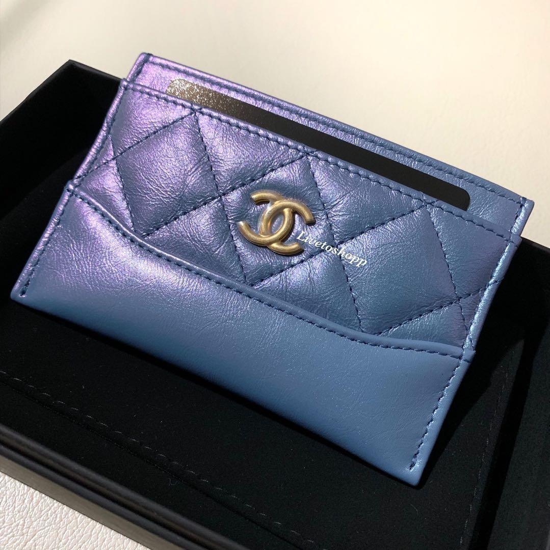 e3583f08b8e7f7 🦄 BNIB Chanel 19S Iridescent Blue Purple Gabrielle Card Holder ...