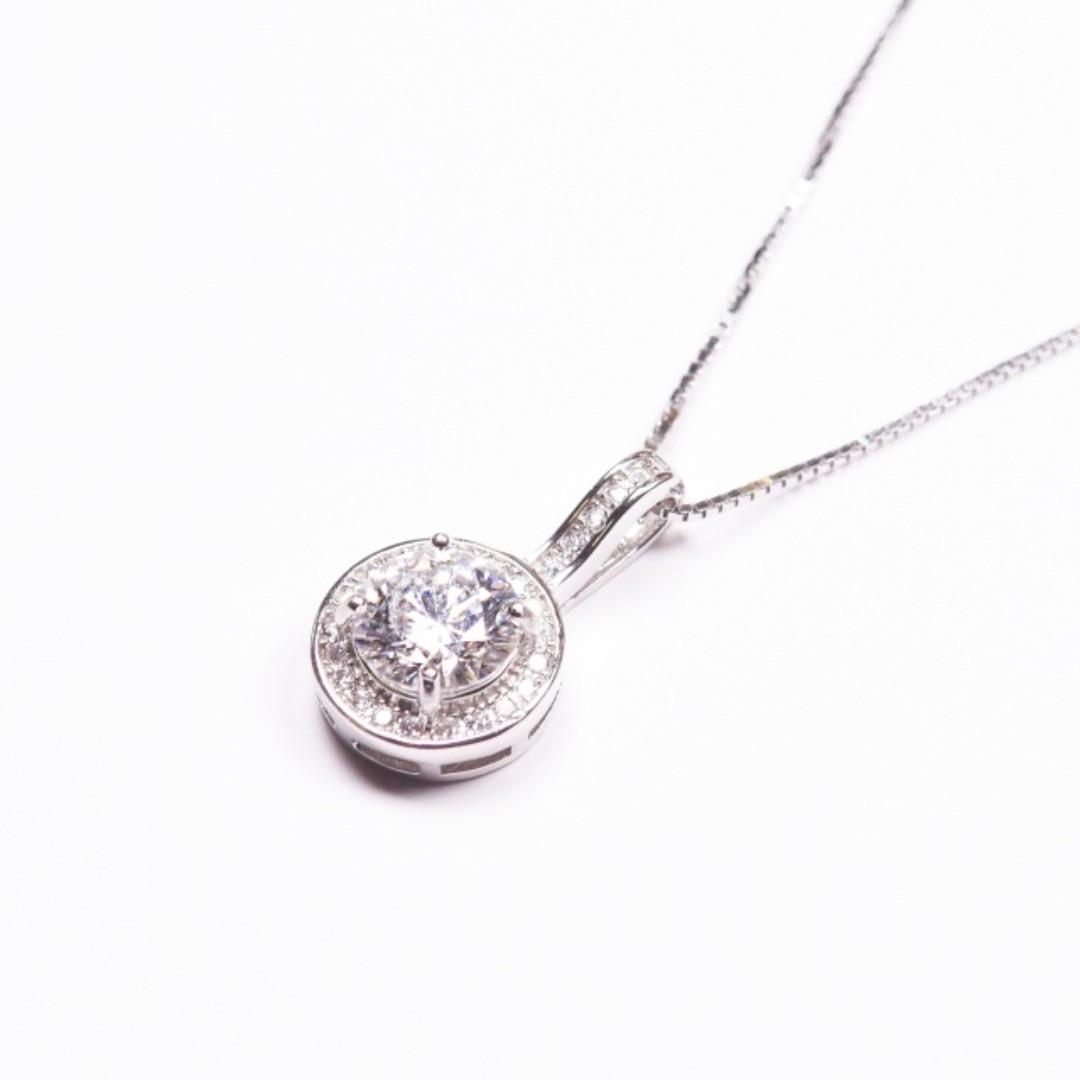 一卡莫桑鑽石頸鏈母親節禮物 Moissanite Diamond Necklace Mothers Day Gift