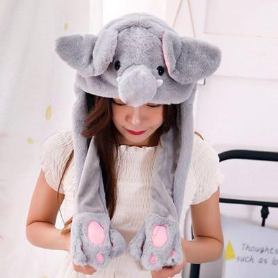 Animal cap movable ears
