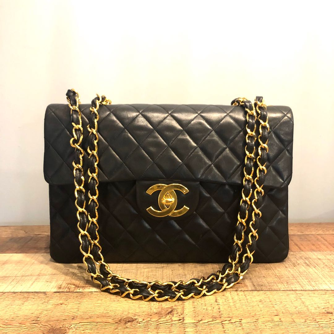 7ba3bc2e920a Authentic Chanel 13 Inch Vintage Jumbo Lambskin Bag w 24k Gold ...
