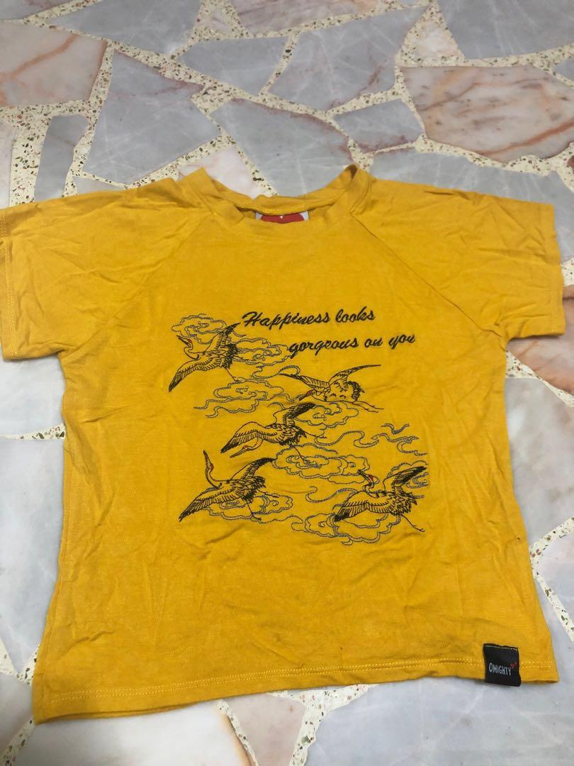 authentic omighty yellow mustard happiness looks gorgeous on you crop tee
