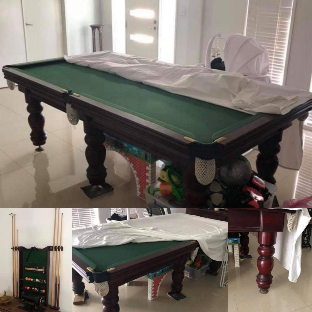 Beautiful Red Wood Slate Pool Table Billiards 8 x 4 Great Condition