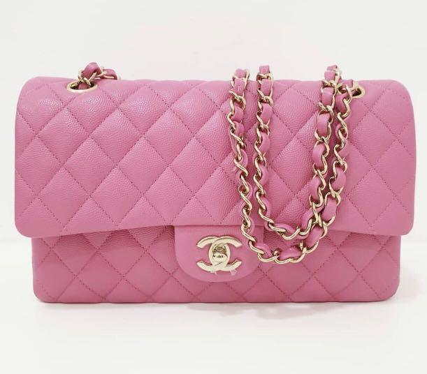 68ce31e33745 BNIB Chanel Pink Classic Medium Caviar Flap Champagne Gold Hardware ...