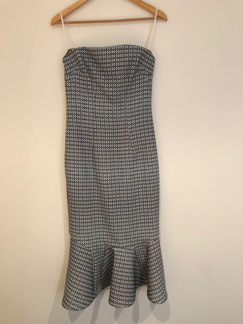 BY JOHNNY. Raffia Drop Flair Strapless Dress - Dresses (Ivory Raffia), Size 10