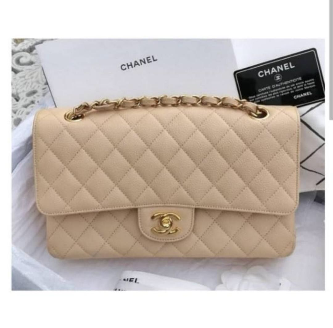 b9dfc14d834b59 Chanel medium classic flap caviar beige with gold hardware, Luxury, Bags &  Wallets, Handbags on Carousell
