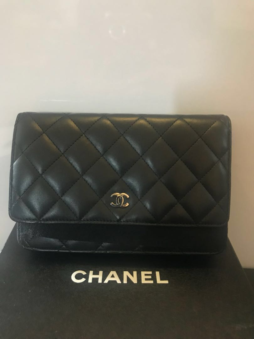 0be466cb318009 Chanel Wallet On Chain - LambSkin(WOC), Luxury, Bags & Wallets, Sling Bags  on Carousell